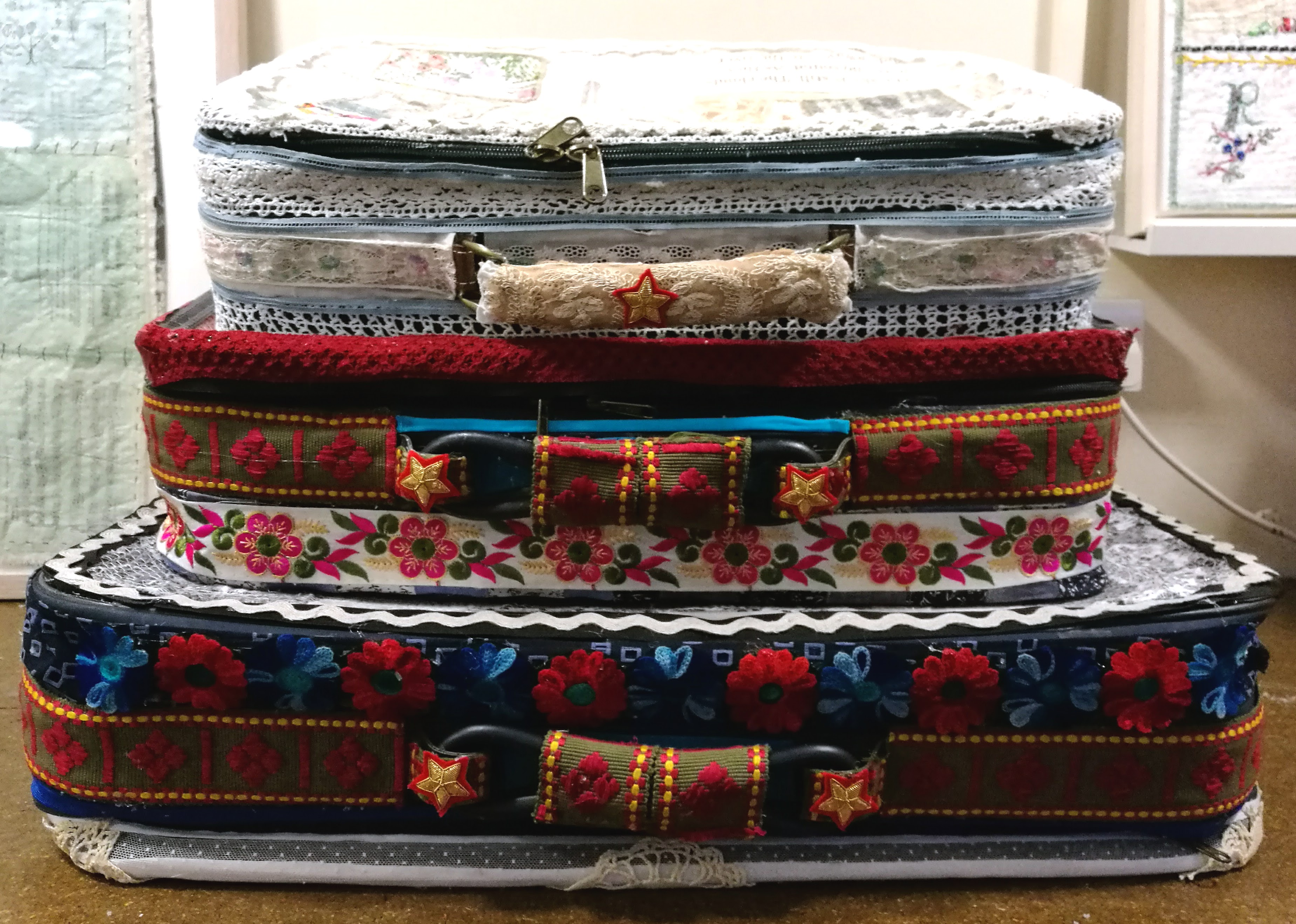 Suitcases embroidery textile stitch