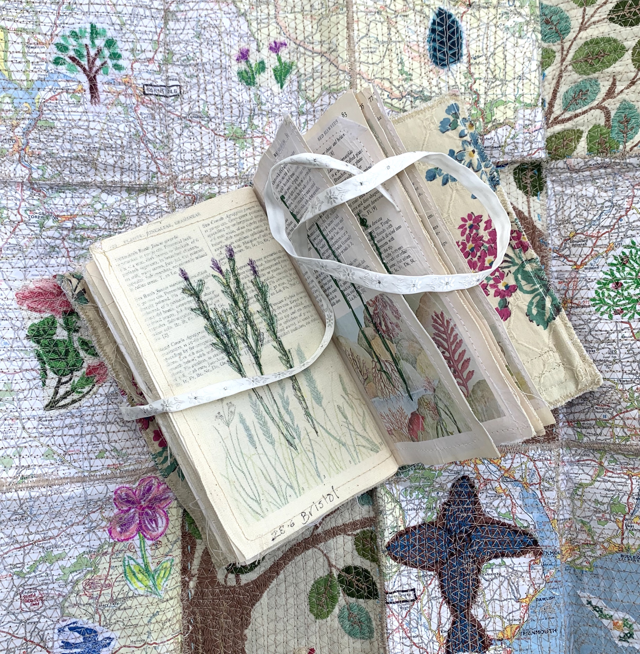 Sketch book embroidery stitch textile travel journal